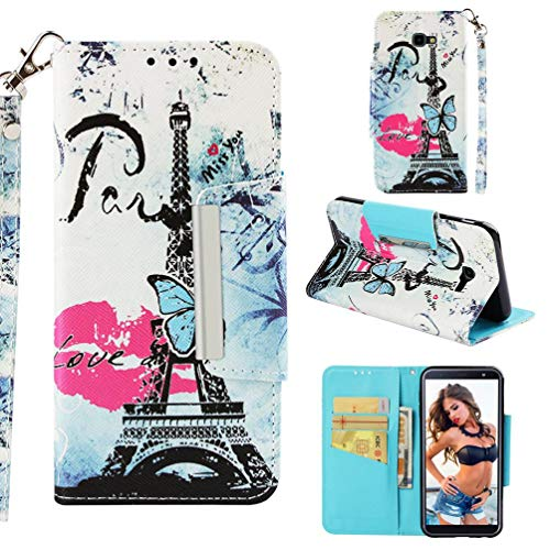 Case for Galaxy J4+/J4 Plus,Durable 3D Printing PU Leather Kickstand Wallet Cover Purse Case with Magnetic Closure Wrist Strap & Card Holder Compatible with Samsung Galaxy J4+/J4 Plus -Lip Tower