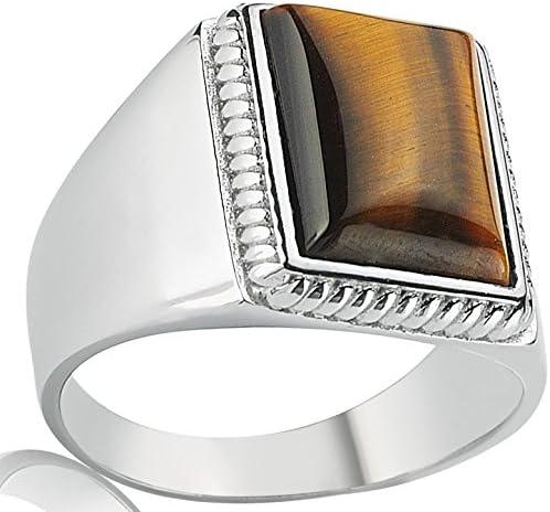 Falcon Jewelry Sterling Silver Unisex Ring Coating Rhodium Handmade Tiger Eye Natural Gemstone Sterling Silver Men Ring