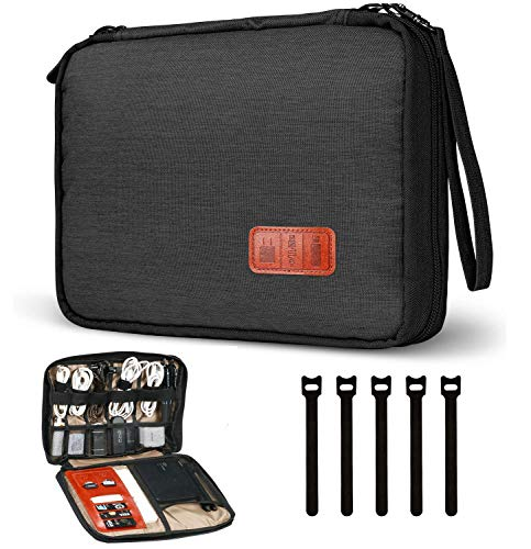 Cable Organizer Bag, Travel Double Layer Electronic Accessories Organizer with 5pcs Cable Ties for Cables, USB Drive Phone Charger Headset Wire SD Card Power Bank and More (Black)