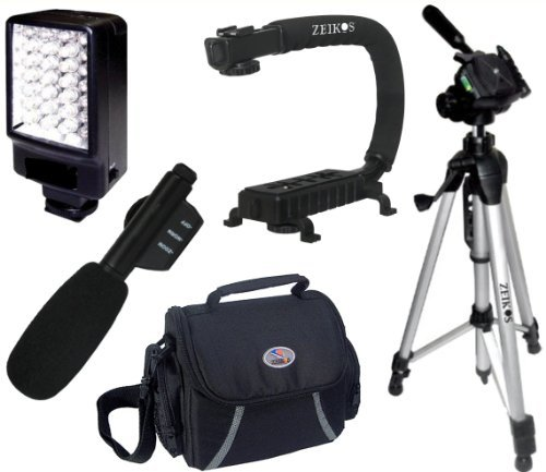 Intermediate Accessory Package For Canon Vixia HFG10 HG20 HG21 HFR10 HFR20 HFR21 HFR100 HFR200 HF11 HF20 HF200 - Includes Deluxe LED Video Light + Video Bracket + Mini Zoom Directional Shotgun Microphone + Soft Medium Camcorder Case + 57 Inch Tripod For + More!!