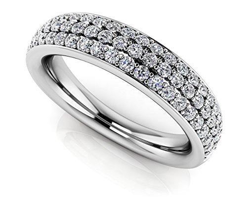 14K Or blanc trois rangées serti Diamant anniversaire de mariage Band