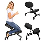 Kemanner Ergonomic Kneeling Chair Adjustable Knee Stool for Healthy Back & Upright Posture - Great For Home/Office/Meditation with Thick Comfortable Cushions