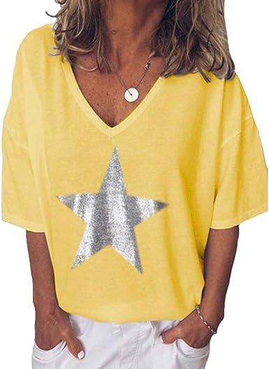 Escote V Mujer Camisetas Cuello V Manga Corta Mujeres Basicas Oversize Anchas Tops Verano Casual Remeras Largas Damas Top Chica Playeras Camisas Señora: Amazon.es: Ropa y accesorios