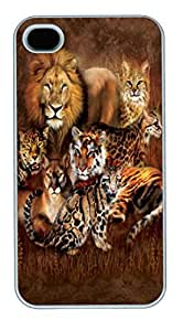 IPhone 4S Cases Cat Power Big Cat Polycarbonate Hard Case Back Cover for iPhone 4/4S White