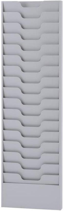 Buddy Products 16 Pocket Literature Rack, Steel, 2.125 x 45.625 x 13.5625 Inches, Platinum (0802-32)