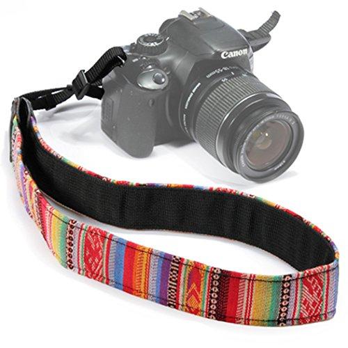Wanby Camera Soft Shoulder Neck Universal Camcorder Belt Strap Vintage Antislip Belt for All DSLR Camera Canon Nikon Sony Pentax Fujifilm Colorful