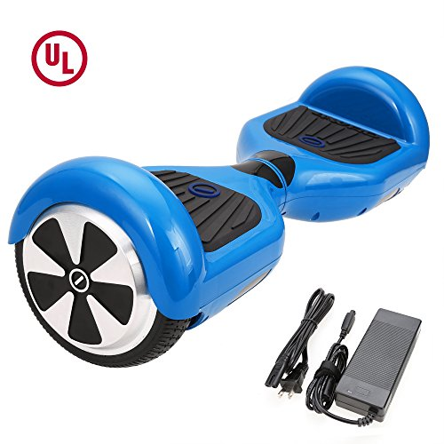 "SURFUS 6.5"" Waterproof Hoverboard with Buffing Shell UL 2272 Certified Self-Balancing Scooter with LED lights , Blue"