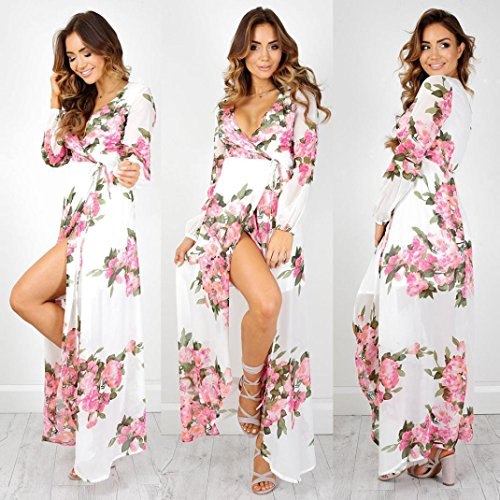 Price comparison product image Wensltd Women's Bohemian Floral Print Chiffon Long Maxi Dresses Beachdress (XL, White)