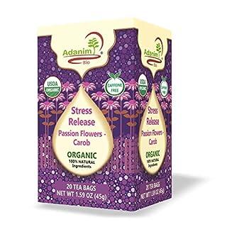 Adanim Bio Organic Passion Flower Tea Bags (Pack of 4) Stress Relief, Anxiety Release, Calming Blend - Passionflower Herbal Tea for Sleep, te de pasiflora calm - Caffeine Free Kosher USDA Certified