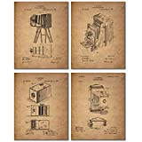 Camera Patent Prints - Set of Four Vintage Wall Art Decor Photos - Eastman Kodak Brownell