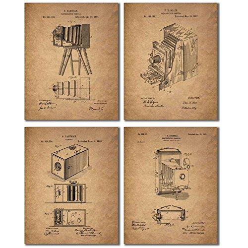 Camera Patent Prints - Set of Four Vintage Wall Art Decor Photos - Eastman Kodak Brownell