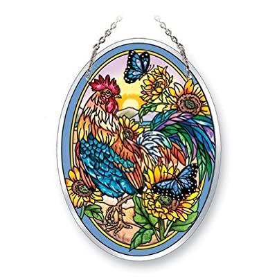 Amia 41743 Medium Oval Suncatcher Hand-Painted Glass, 5-1/2 by 7-Inch, Rooster Design: Home & Kitchen