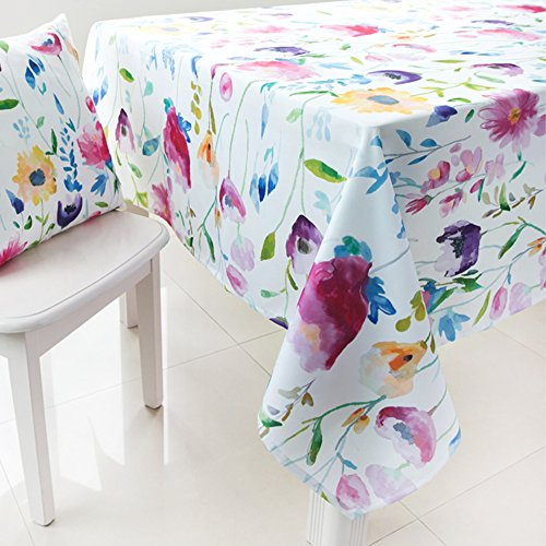 ColorBird Modern Style Washable Tablecloth Colorful Floral Pattern Polyester Table Cover for Dining Kitchen Living Decorative Tabletop Linen Decor (Rectangle/Oblong, 55 x 102 Inch, Watercolor (Oblong Flower)