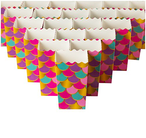(Set of 100 Popcorn Favor Boxes - Carnival Parties Mini Paper Popcorn Containers, Candy Popcorn Party Supplies for Movie Nights, Birthday, Bridal Shower, Mermaid Design - 3.3 x 5.5 x 3.3 Inches )