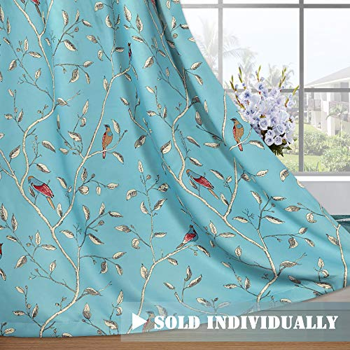Turquoise Bird - H.VERSAILTEX Blackout Grommet Curtains Living Room Noise Reducing Thermal Insulated Window Curtain Drapes Dining Room, Country Style Birds Turquoise Blue Pattern (1 Panel, 52 x 96)
