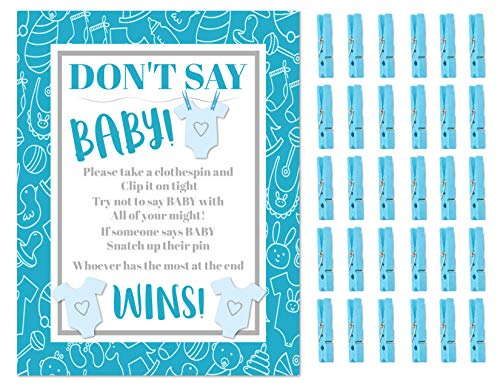 Don#039t Say Baby The Baby Shower Clothespin Game for Guests to Wear Blue Boy with Mini Clothespins Party Favors For 30 Players Blue Boy