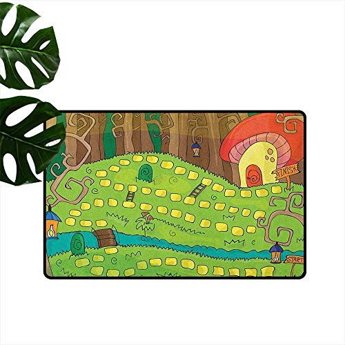 (RenteriaDecor Kids Activity,Home Decor Floor mats Board Game Style Design of Pathway to The Mushroom House in a Magical Forest 16