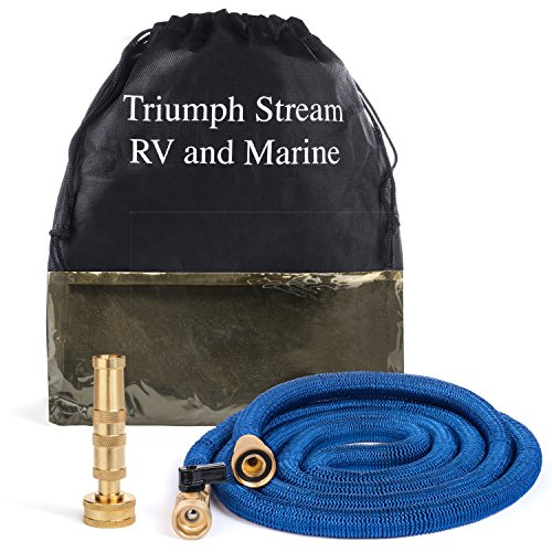 Marine Boat 5th Wheel and RV water hose | FRUSTRATION FREE! - No Kinks Coiling Stiffness or Scuffs | Perfect Washdown Hose, Super Space Saver w/ Storage Bag | Expands 8 to 25 ft | Leak Free Guarantee