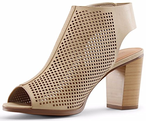 Marco Republic Tuscany Womens Peep Toe Slingback Ankle Strap Perforated Cutout Chunky Block Stacked Heels Sandals Booties Pumps