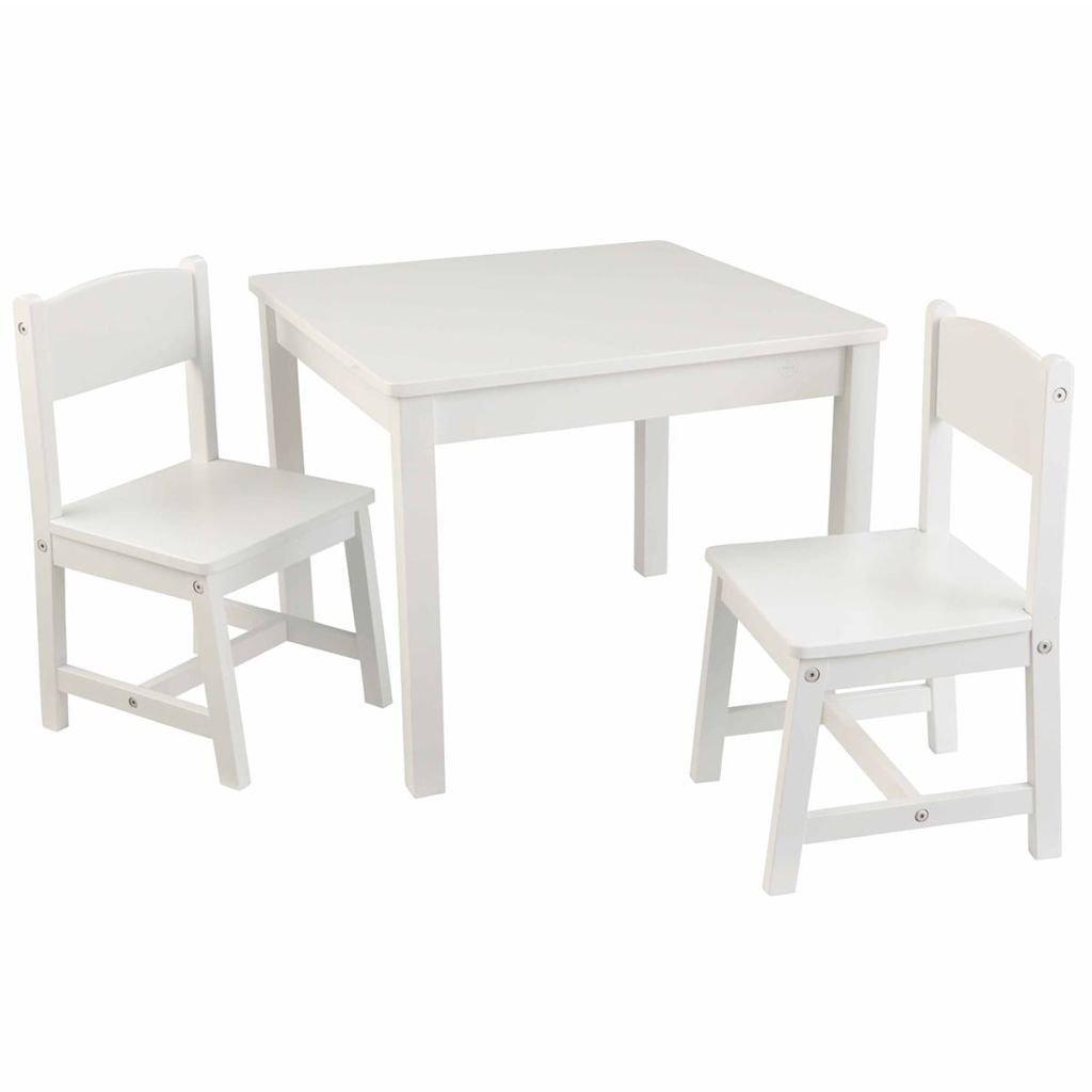 SSITG Kindertisch mit 2 Stühlen Kindersitzgruppe Kindermöbel Weiß Holz