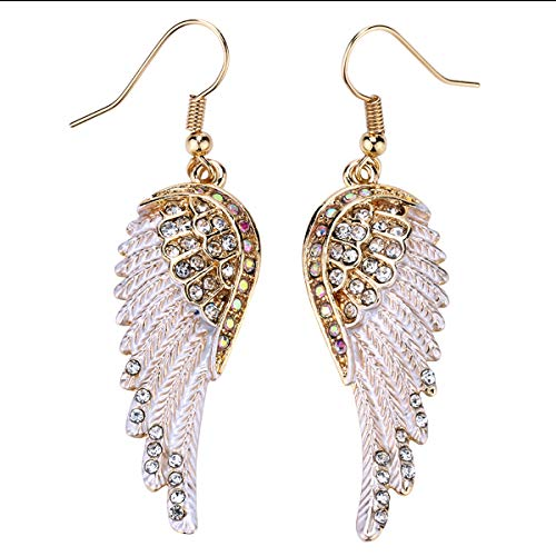 Szxc Jewelry Women's Crystal Angel Wings Dangle Earrings Biker ()