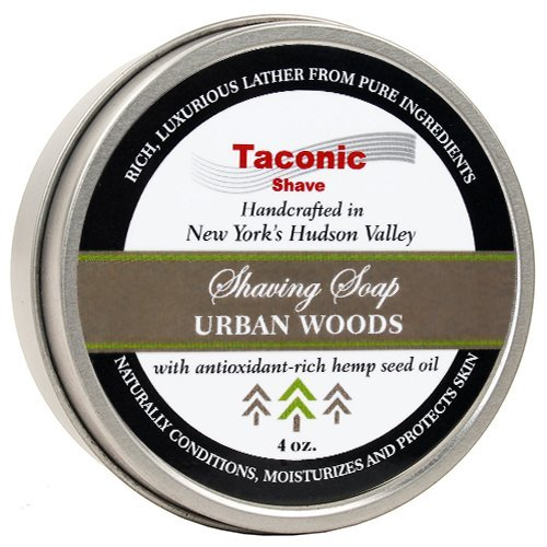 Taconic Shave Barbershop Quality URBAN WOODS Shaving Soap with Antioxidant-Rich Hemp Seed Oil - With hints of Cedar, Bergamot and Tobacco - Parker Safety Razor
