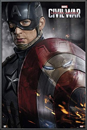 Captain America 3: Civil War - Framed Marvel Movie Poster / Print (Captain America - Solo With Shield) (Size: 24