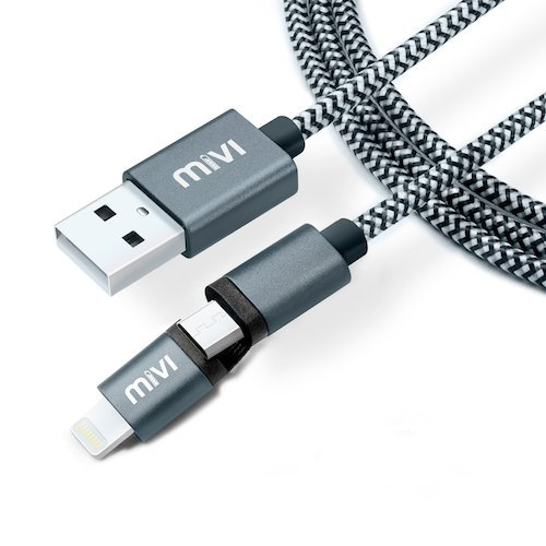Mivi 2 in 1 Apple Lighting & Micro USB to Standard Type A USB Cable 5ft Data Sync and Charging Cable for iPhone, iPad, Samsung, Lenovo, Lumia, OnePlus, Xiaomi, HTC, LG, Nexus, Motorola Moto G, ASUS, Coolpad, Sony, Micromax, Honor, Intex, Meizu, Karbonn and all other mobile devices and Tablets