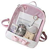 Smilecoco Candy Leather Bow Backpack Plastic Transparent Beach Girls School Bag, Pink