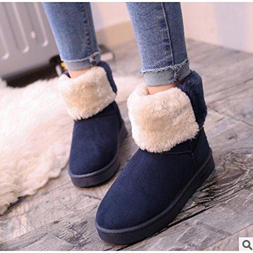 botines Casual Azul PU Plano Mujer Confort redondeado Beige HSXZ de de Negro Invierno Botines Rojo Beige Zapatos Toe Otoño Botas 6wxag7q