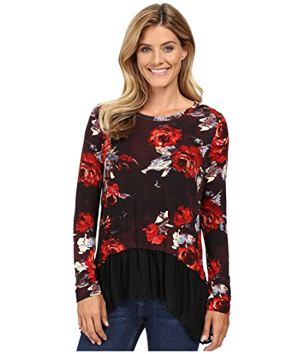 Karen Kane Women's Painted Rose Sheer Hem Top Print Shirt