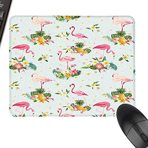 (Flamingo Gaming Mousepad Flamingo Bird Tropical Flowers Fruits Pineapples Vintage Style Artwork with Stitched Edges 11.8