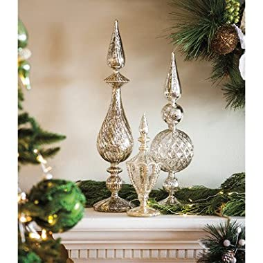 Cypress Home Silver Mercury Glass Tabletop Finials, Set of 3