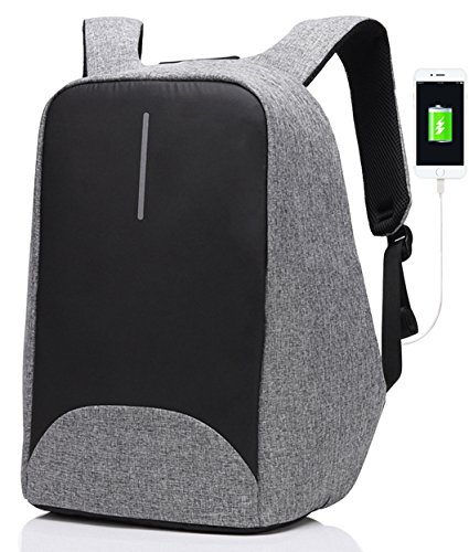 Anti-theft Business Laptop Backpack with USB Charging Port Fits to 15.6 Inch Computer Lightweight Water-resistant Knapsack Gray CB0402