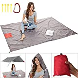 Picnic Blanket, Outdoor Waterproof Pocket Beach Blanket (80inch x 55inch ) - Portable Sand Free Beach Mat With Rain Poncho Ideal For Outdoorsman Camping Hiking, Family Size, Rain Hood, Zippered Pocket, 4 Corner Pockets, Tie Down Loops & Storage Pouch