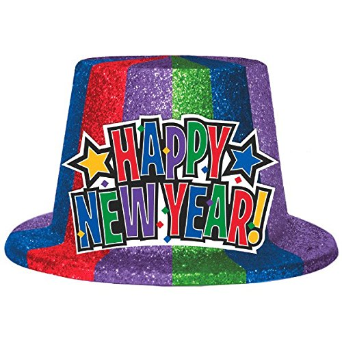 Rocking New Year's Party Rainbow Glitter Top Hats Accessory, Multi Color, Plastic, 5