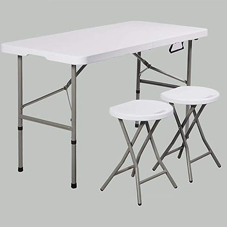 Mesas Plegables Sillas Conjunto Multipropósito Cocina Comida Juegos Portátil Jardín Cámping Mesa Silla Taburetes CJC (Color : 1 Folding Table+2 stools): Amazon.es: Hogar
