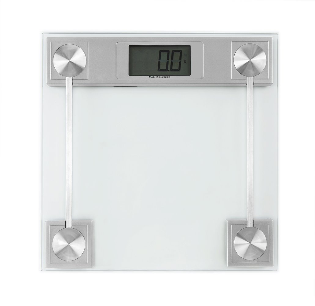 Body Weight Scale, FOLIND Digital Body Weight Bathroom Scale with Tempered Glass and Large Display, High Precision Bath Scale with Step-on Technology, 330 Pounds