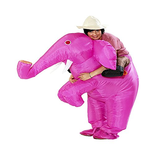 Inflatable Elephant Costumes For Adults (Inflatable Men Piggyback Elephant Costume Adult Halloween Party Blow up Suit (Pink))