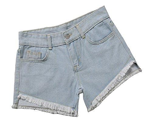 Strappato Shorts Pantaloncini Chiaro Azzurro Hotpants Denim Jeans Oversize Buco Elastici Vita Stampa Donne Alta qSCIzdxIw