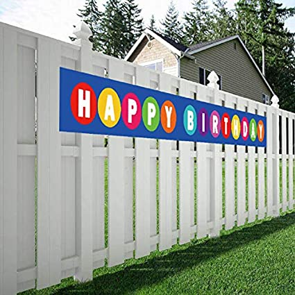 Maplelon Large Happy Birthday Banner Huge Bday Sign Colorful Hanging Decorations Party Supplies