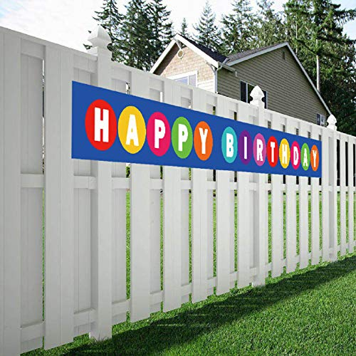 Maplelon Large Happy Birthday Banner, Huge Bday Sign, Colorful Hanging Decorations, Party Supplies -