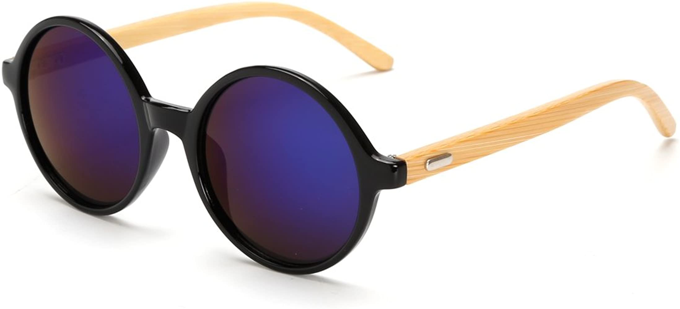 LongKeeper Mens Bamboo Wood Arms Classic Sunglasses