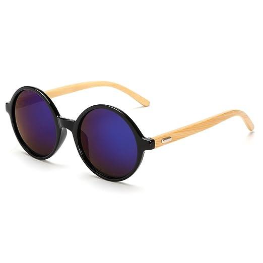 9cce35f2101 VeBrellen Men s Sunglasses Bamboo Wood Arms Vintage Round Mirrored  Sunglasses For Men   Women (Black