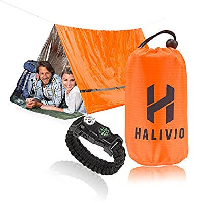 Halivio Emergency Tent for Emergency Shelter- Survival Tent Bivy -Emergency Sleeping Bag with Travel Bivvy Bag- Mylar Tube Tent and Survival Bracelet