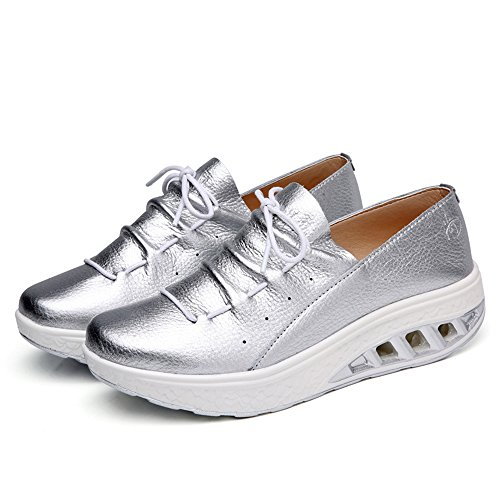 Zarachielly Women's Comfortable Platform Walking Sneakers Lightweight Casual Tennis Air Fitness Shoes(Silver,42/11 B(M) US Women)