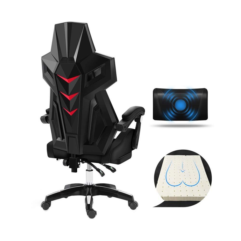 回転チェア ビデオゲームチェア、昇降回転式リクライニングオフィスチェア内蔵ラテックスクッション付きフットレスト人間工学コンピュータチェアマッサージ枕 (Color : All black) B07SXS967K All black