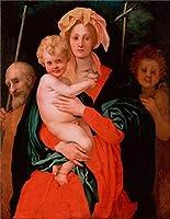 ポリエステルキャンバス、美しいアートの装飾プリントキャンバスの油絵` The Virgin子St Joseph John the Baptist、1527by Jacopo da Pontormo `、8x 10インチ/ 20x 26cmはBest地下室の装飾用、ホームアートワークとギフトの商品画像