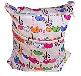 ZIOOER Printing Baby Cloth Diaper Laundry Wet and Dry Bags Elephants