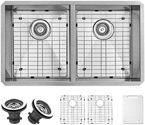 VIGO VG3219AK1 32 Inch Double Bowl 16 Gauge Stainless Steel Commercial Grade Farmhouse Kitchen Sink with Two Grids and Two Strainers, Rounded Corners and SoundAbsorb Technology